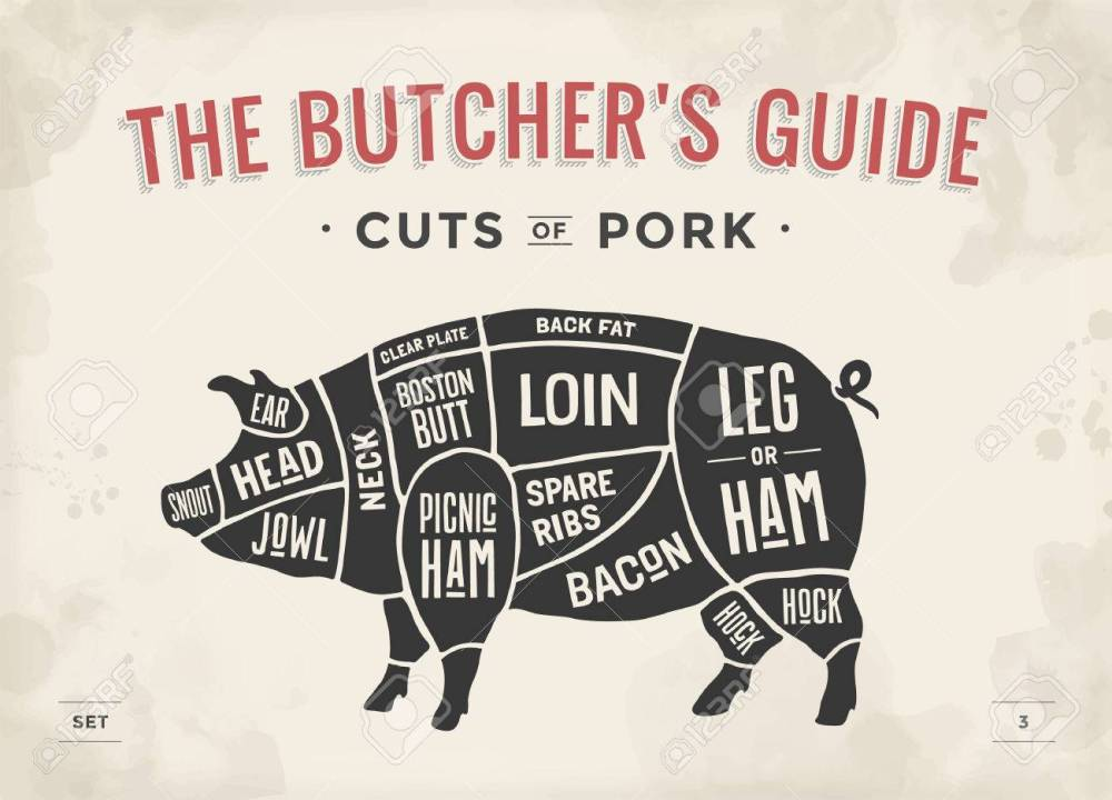 medium resolution of cut of meat set poster butcher diagram scheme and guide pork pork butcher poster cut