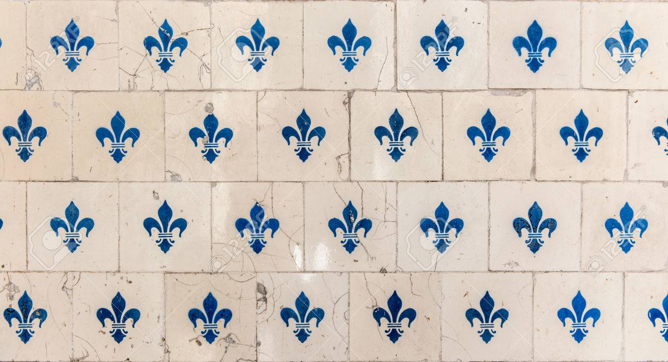 old tiles with a fleur de lys design stock photo picture and royalty free image image 33016752
