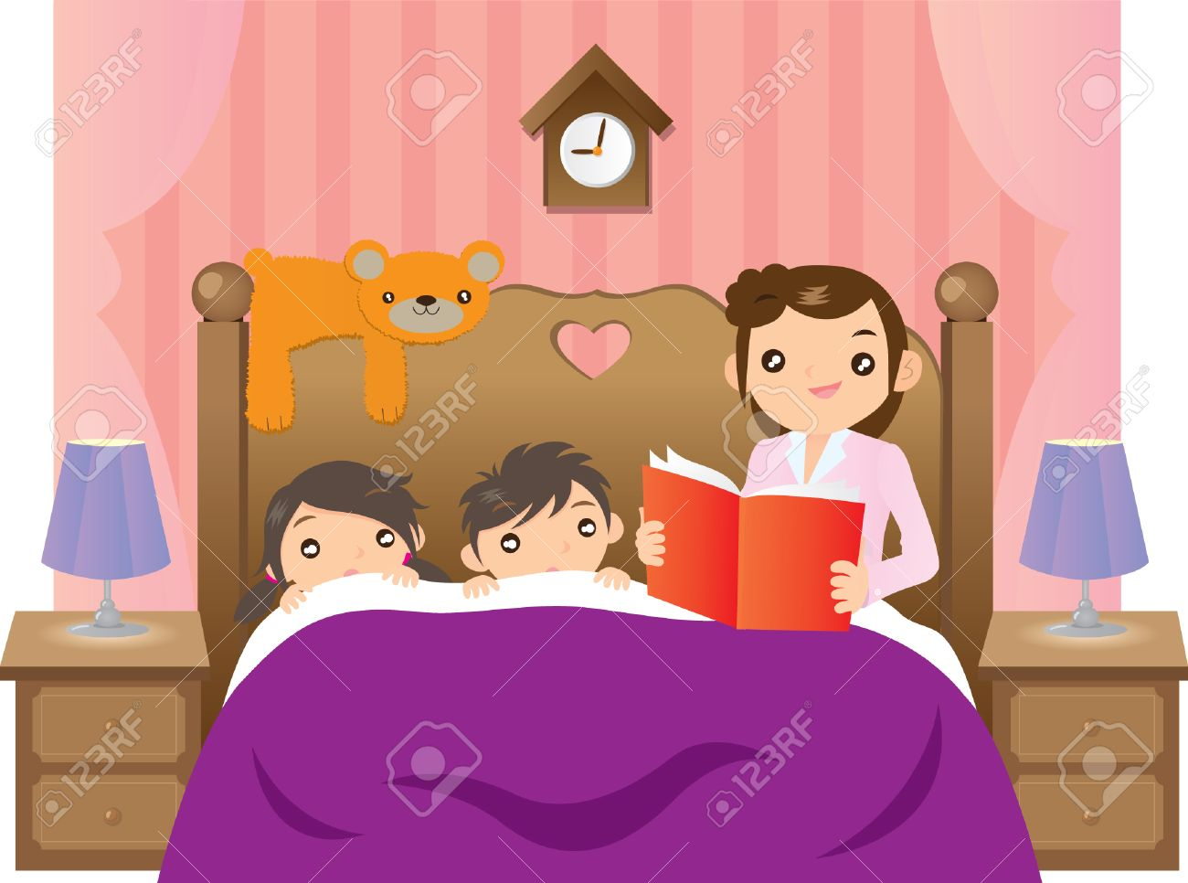 hight resolution of mother telling story to her 2 kids on bed