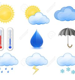 weather forecast icons outdoor thermometer sun cloud rain stockfoto 9045080 [ 1300 x 1083 Pixel ]