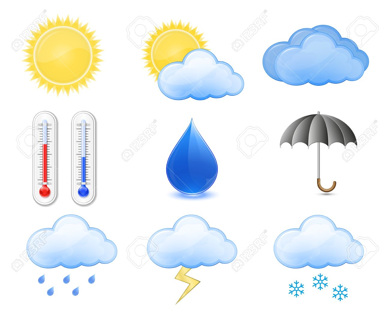 hight resolution of weather forecast icons outdoor thermometer sun cloud rain stockfoto 9045080
