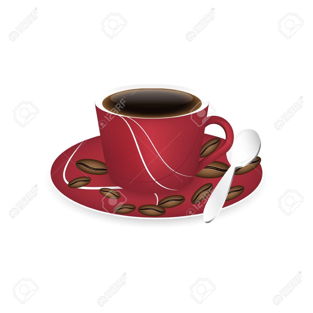 tasse de cafe rouge cuillere et grains de cafe isole sur un fond blanc