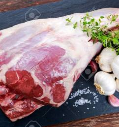 raw lamb leg on blue stone background with herbs stock photo [ 1300 x 831 Pixel ]