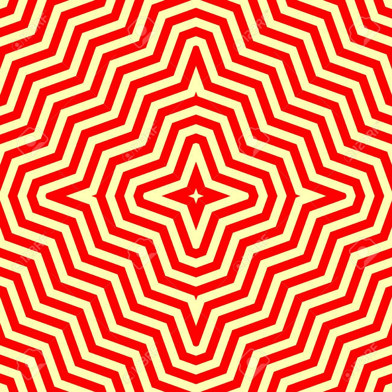 seamless avec ornement symetrique abstraite rouge sur fond jaune fond d ecran psychedelique lignes motif vector illustration