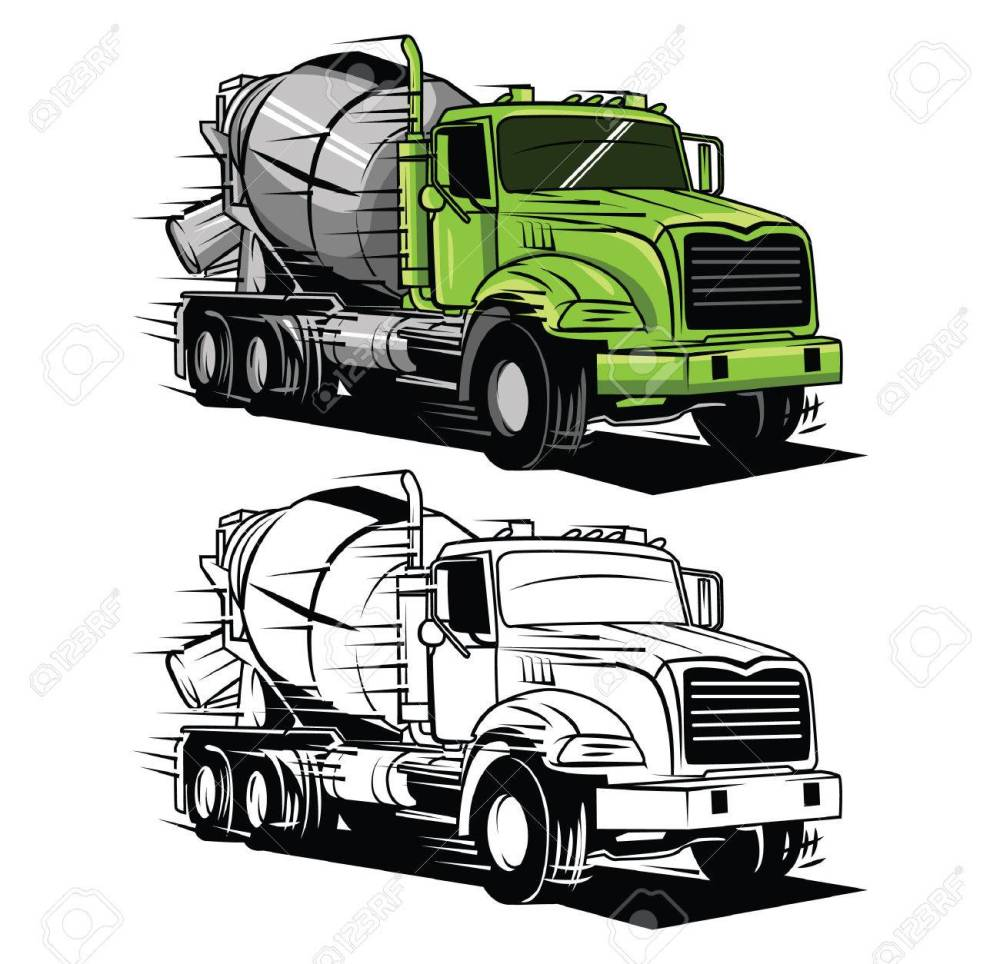 medium resolution of coloring book big truck cartoon character illustration