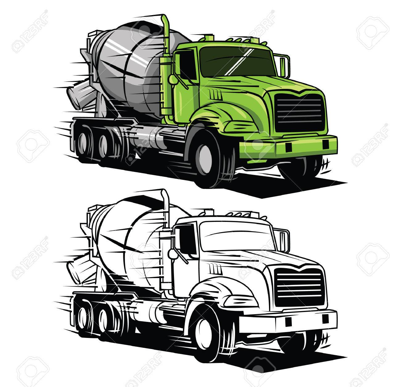 hight resolution of coloring book big truck cartoon character illustration