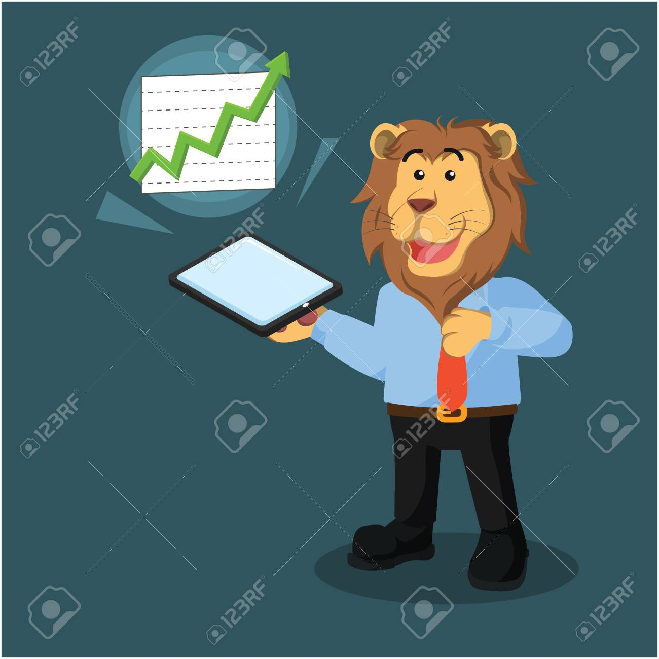 hight resolution of business lion with phone poping out diagram stock vector 69470028