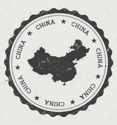 china hipster round rubber stamp with country map vintage passport stamp with circular text and [ 1300 x 1300 Pixel ]