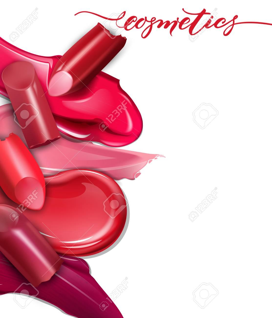broken lipsticks closeup and