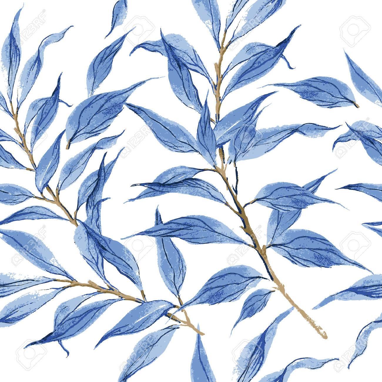 blue leaves vector watercolor