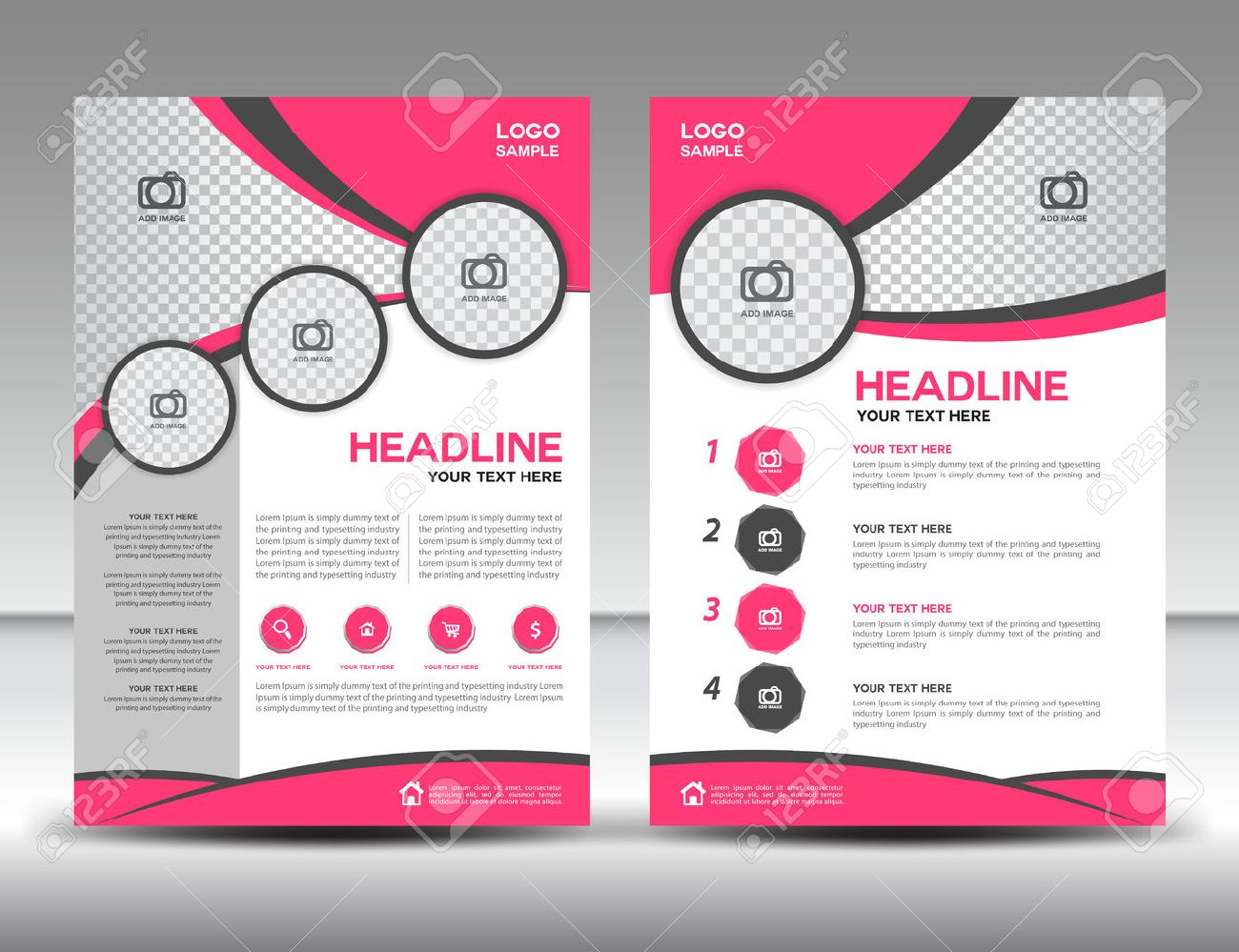 pink business brochure flyer design layout template in a4 size