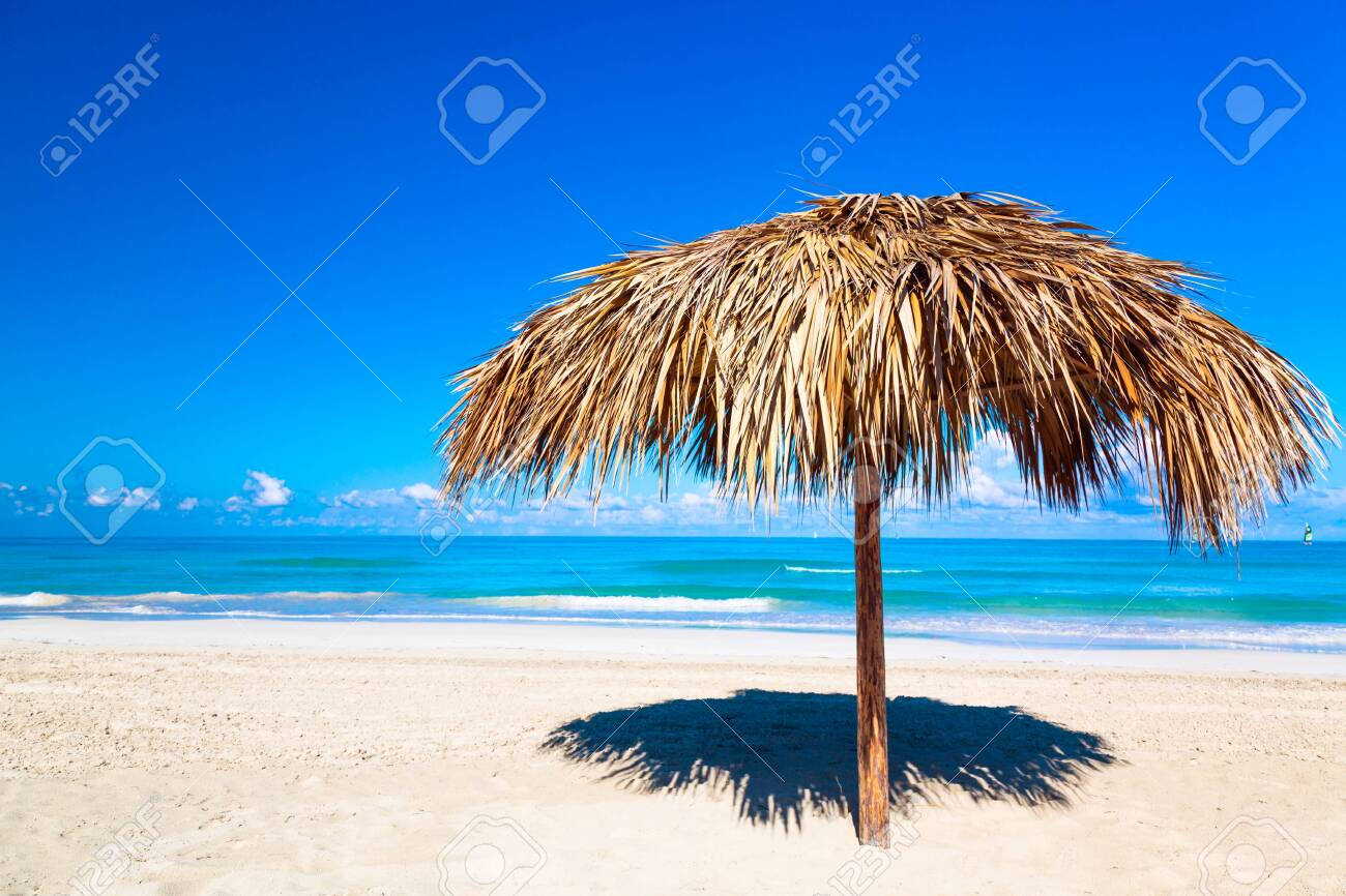 Straw Umbrella On A Beach Vacation Background Idyllic Beach Stock Photo Picture And Royalty Free Image Image 130221956