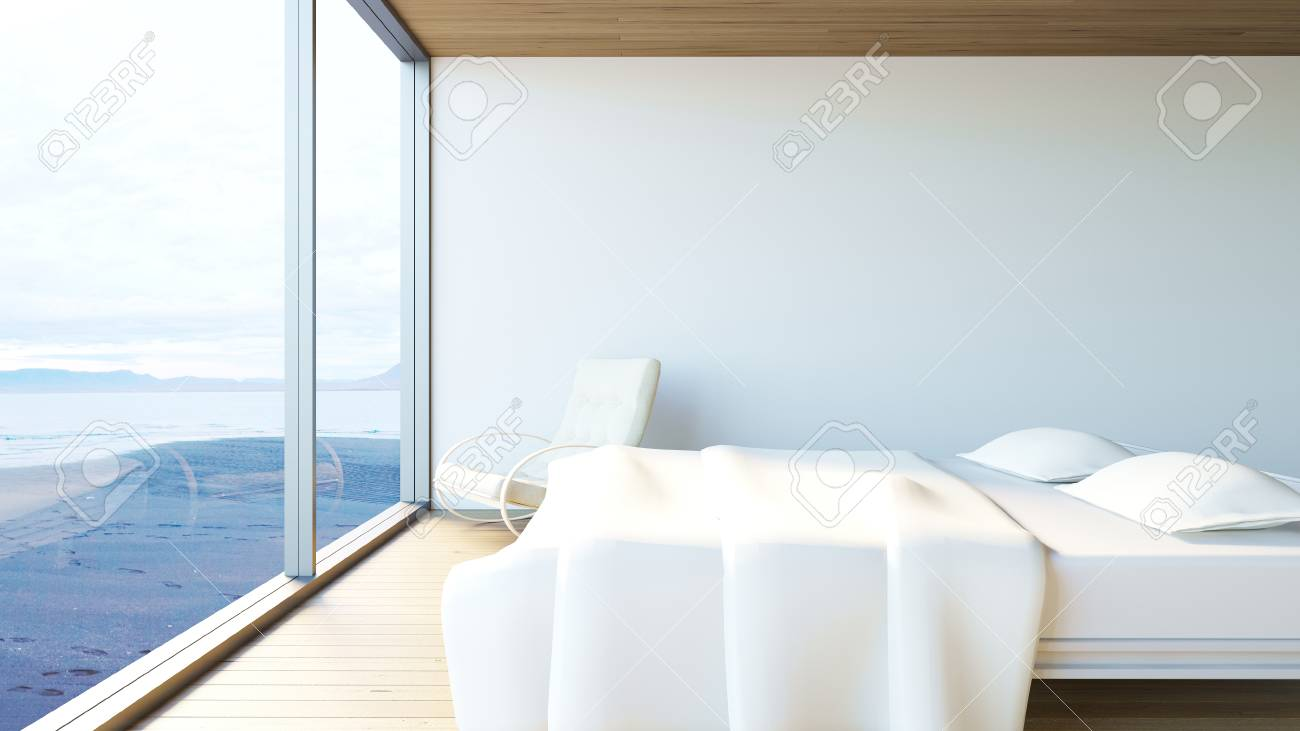 bedroom rocking chair hanging canada indoor modern minimal with white bed and ocean view 3d render image stock