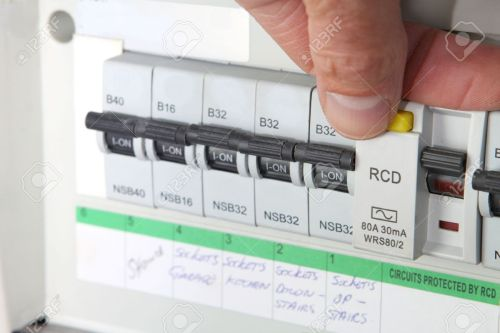 small resolution of stock photo testing an rcd residual current device on a uk domestic electrical consumer unit or fuse box