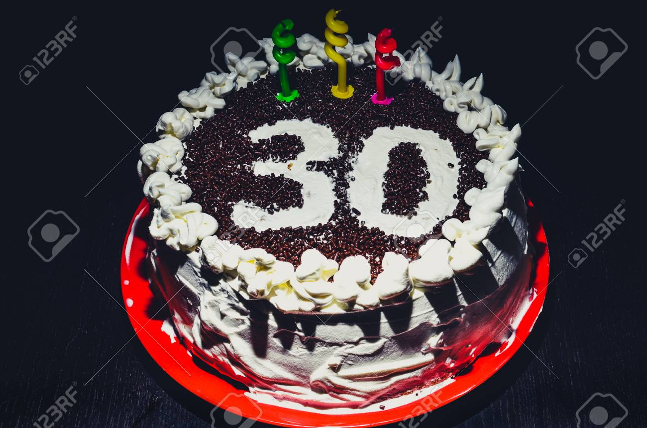 Home Made Birthday Cake For 30th Birthday With Three Candles Stock