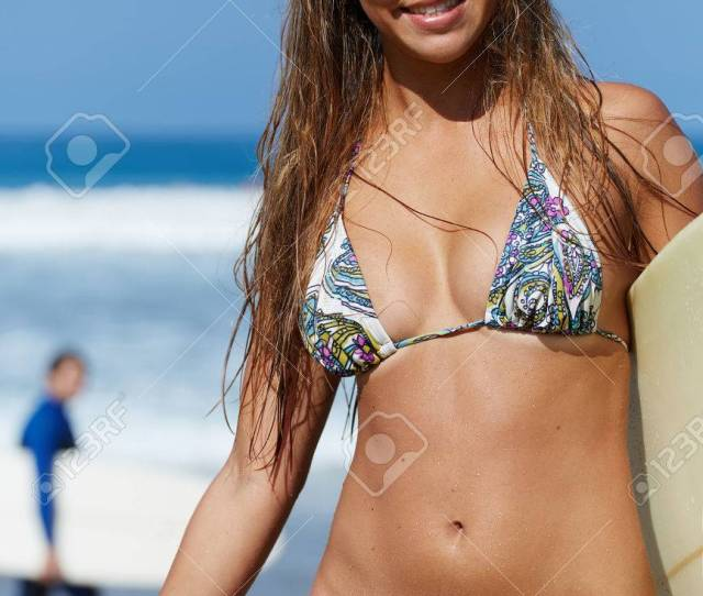 Attractive Surfer Girl Smiling Standing With Surfboard At Sunny Day Young Caucasian Sexy Girl On