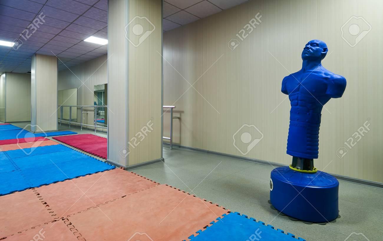 blue punching bag dummy
