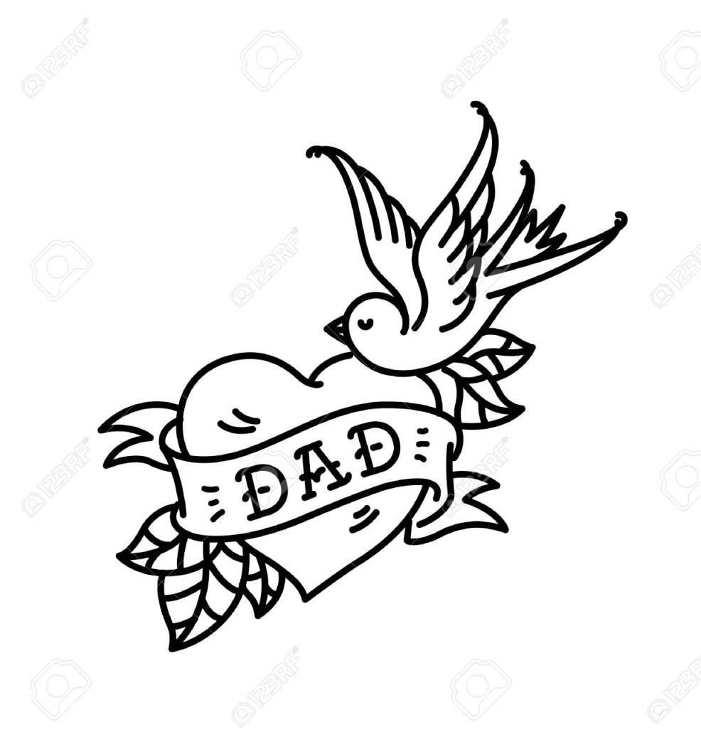 A Tattoo With The Inscription Of Dad Heart Tattoo With A Bird