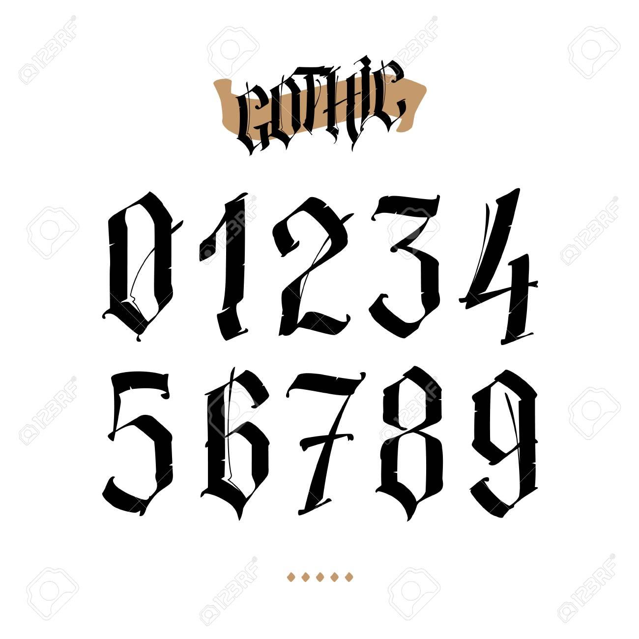 Los Números Están En El Estilo Gótico Símbolos Aislados Sobre Fondo