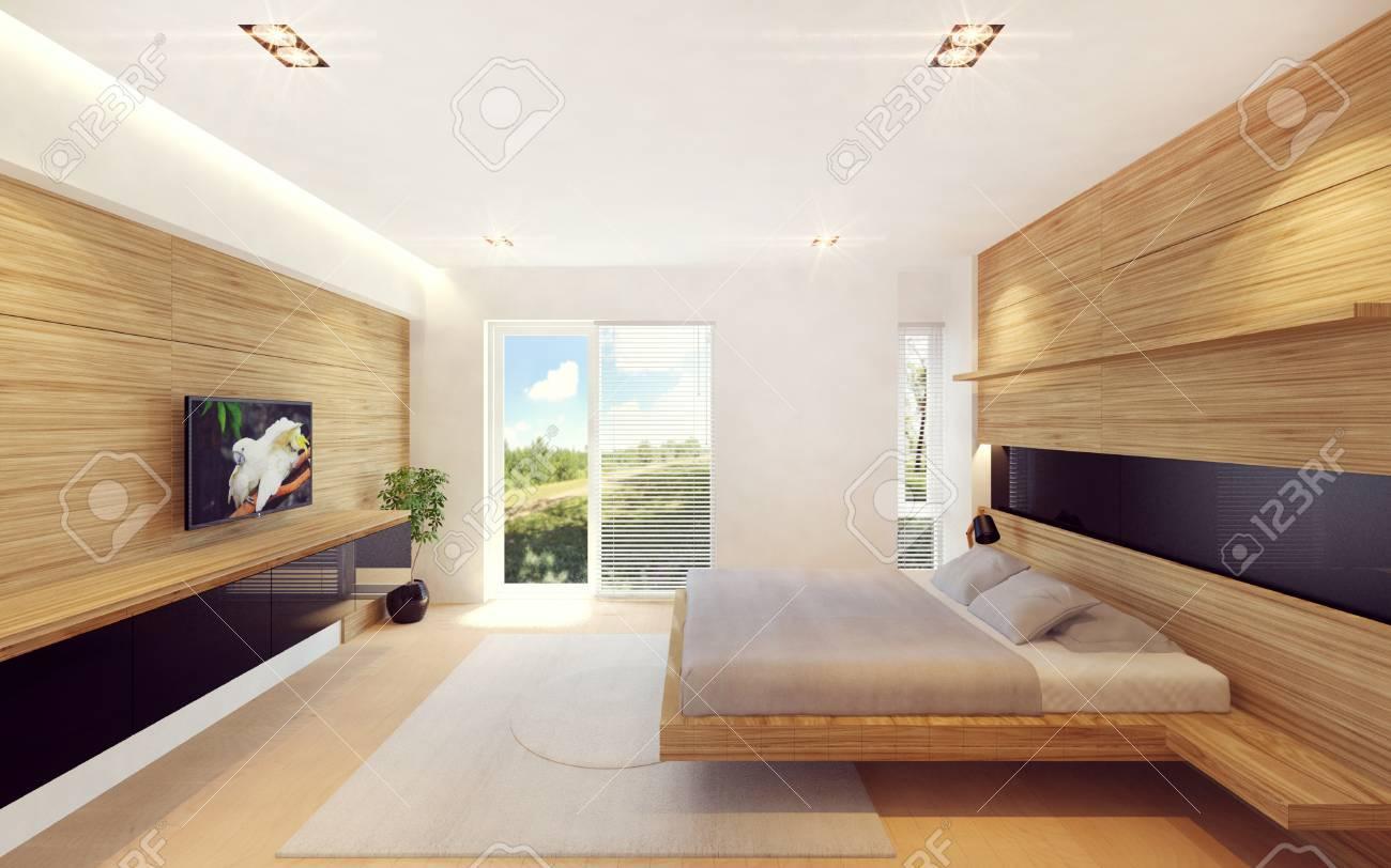 interieur de chambre moderne en decoration en bois rendu 3d
