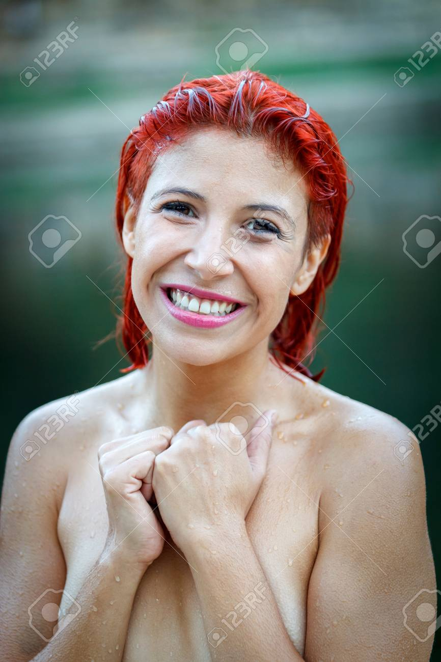 Attractive Red Hair Girl Without Clothes In The Nature Stock Photo 96216069
