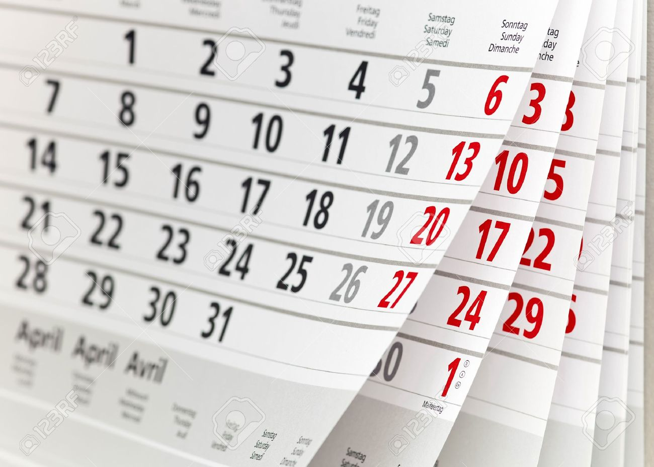 close up a calendar
