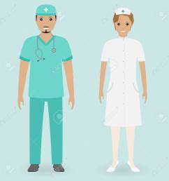 male and female nurses standing together medical people flat style [ 1300 x 1300 Pixel ]
