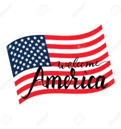 vector welcome america inscription brush on american flag isolated on white background [ 1300 x 1300 Pixel ]
