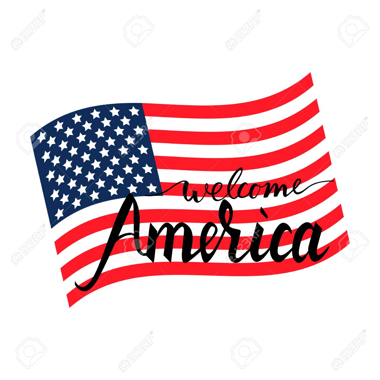 hight resolution of vector welcome america inscription brush on american flag isolated on white background