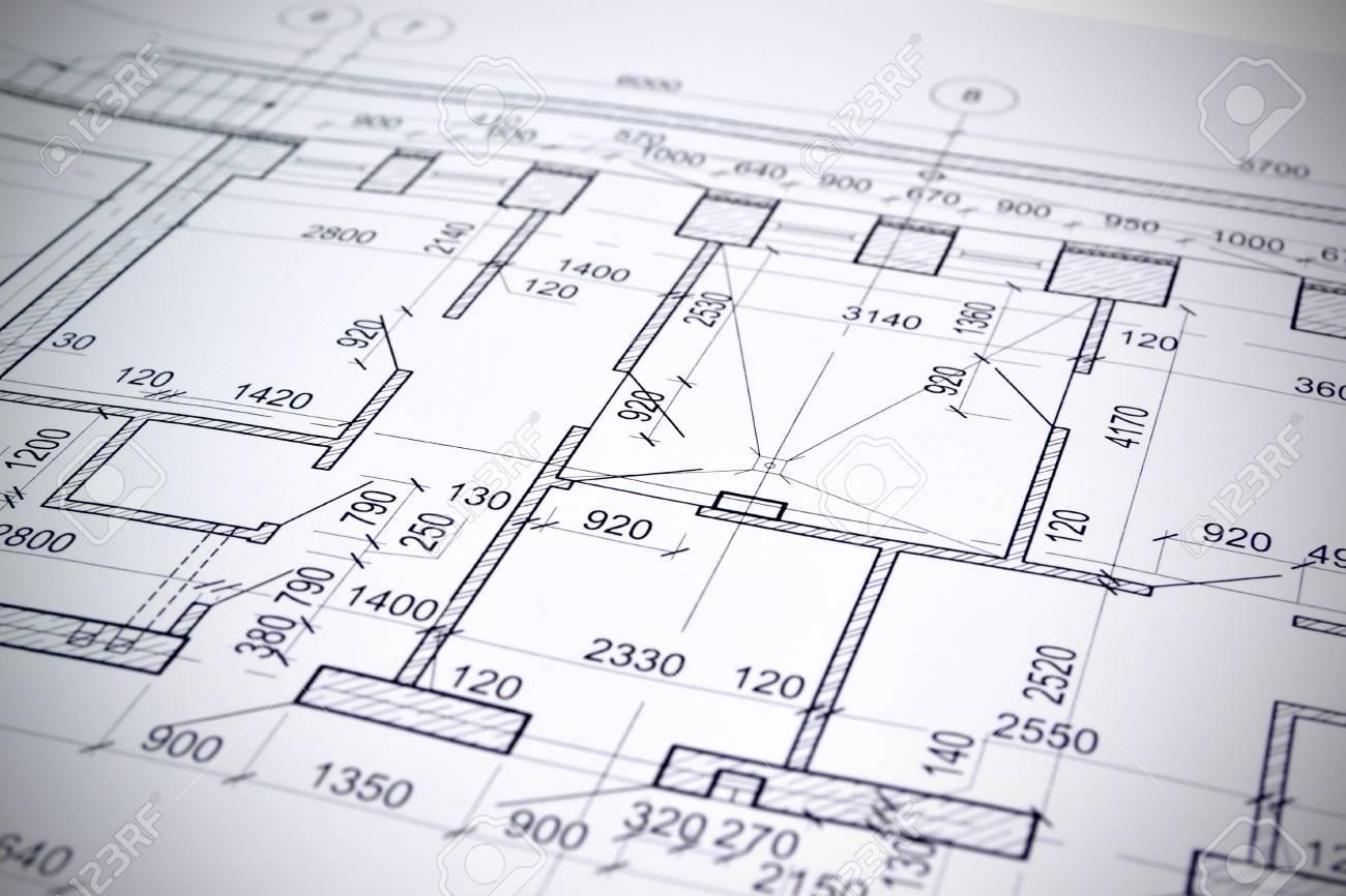 grundriss auf der zeichnung entworfene gebaude standard bild 52461628