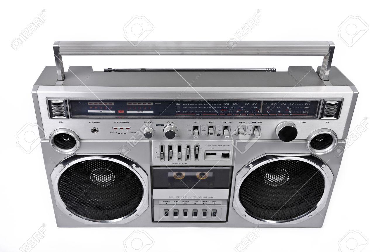 1980s silver retro radio