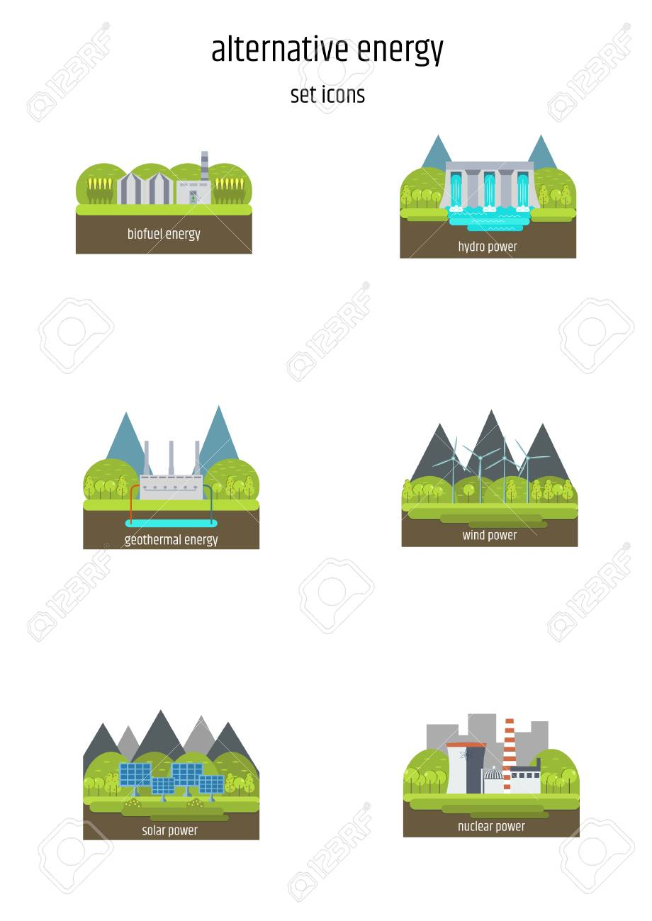 hight resolution of set of illustrations in simple flat style alternative and renewable energy wind powered