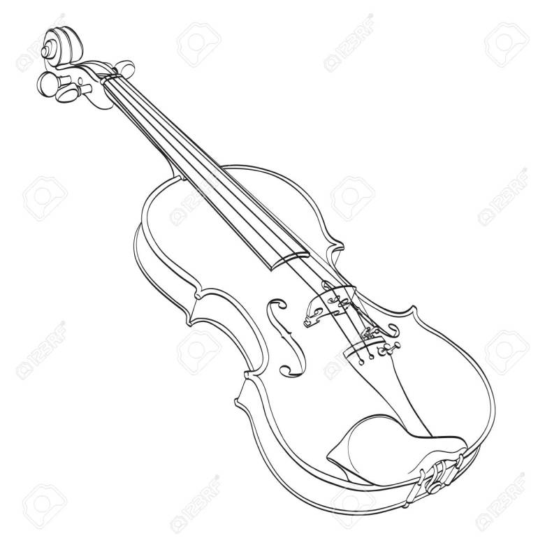 violin outline drawing on white. hand drawn contour line of wooden