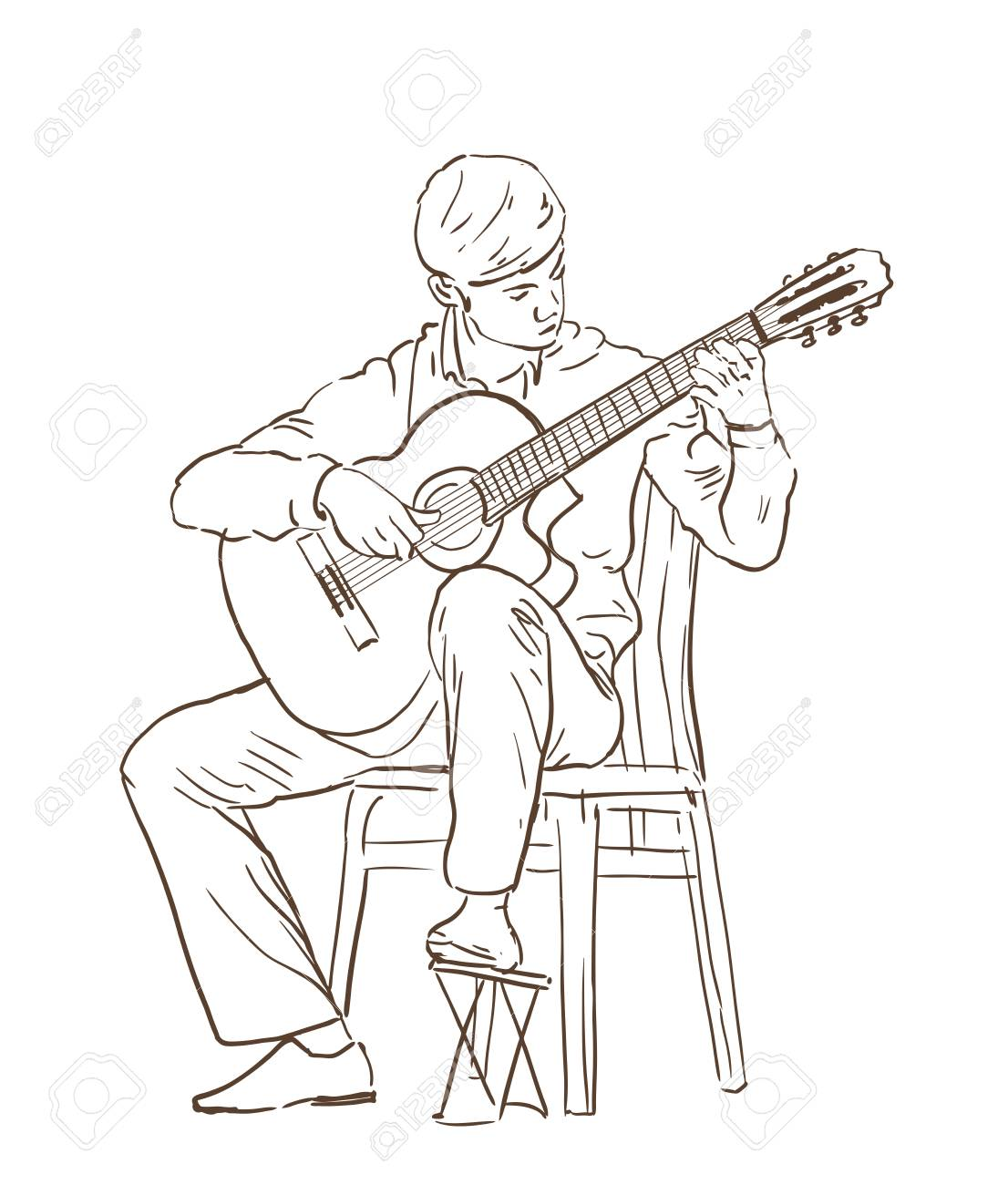classical guitar chair hanging online india young man playing cutaway sitting on a vector hand drawn illustration line sketch