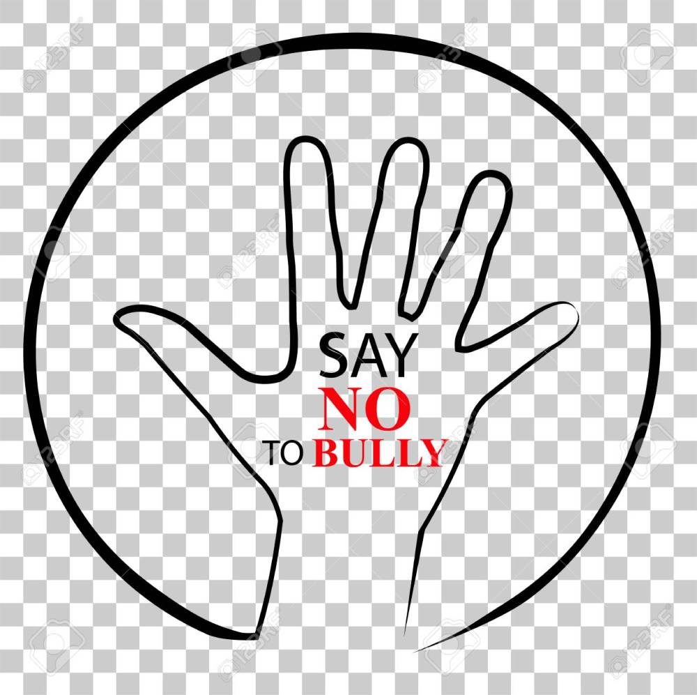 medium resolution of sign no bully at transparent effect background stock photo
