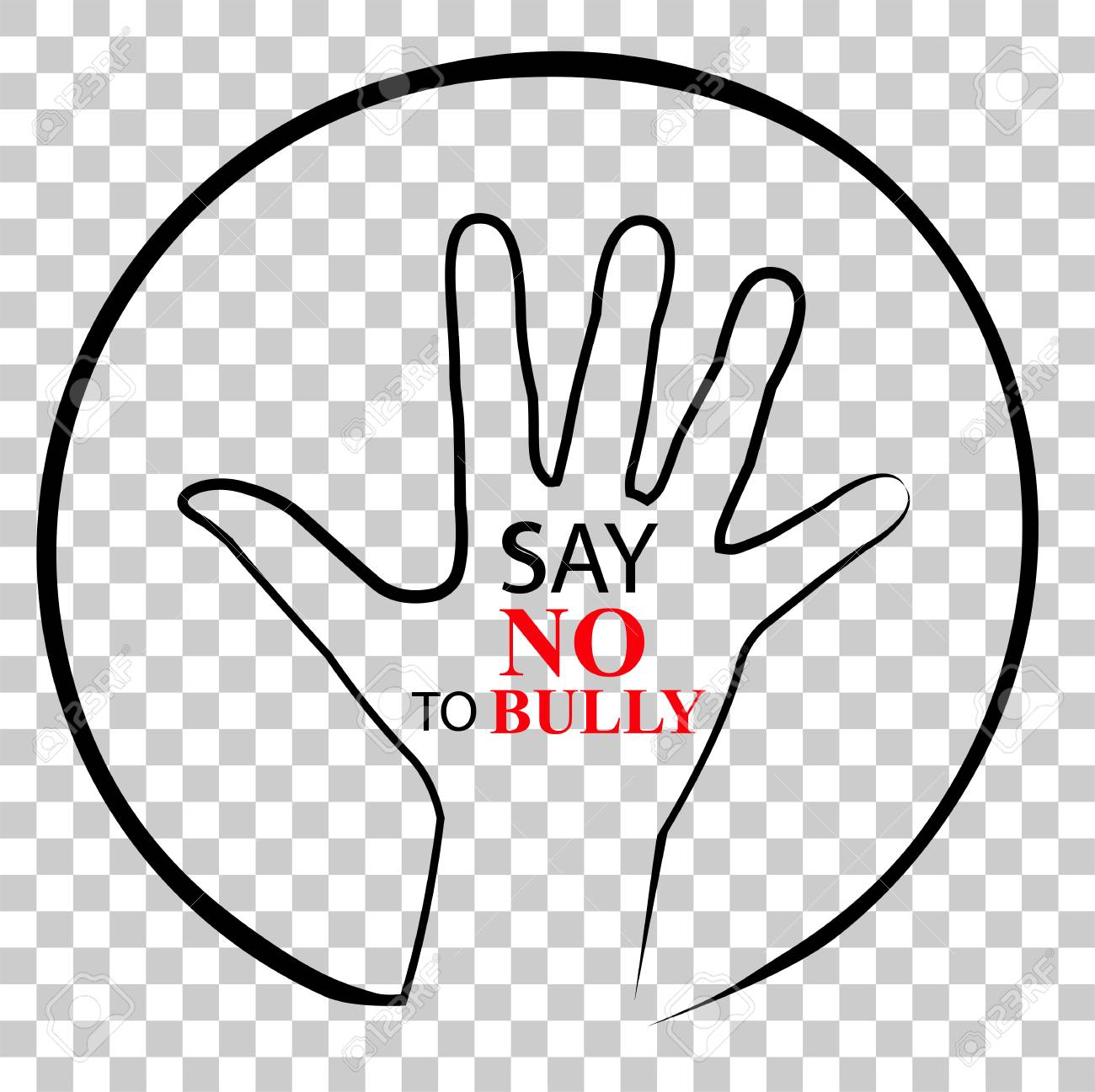 hight resolution of sign no bully at transparent effect background stock photo