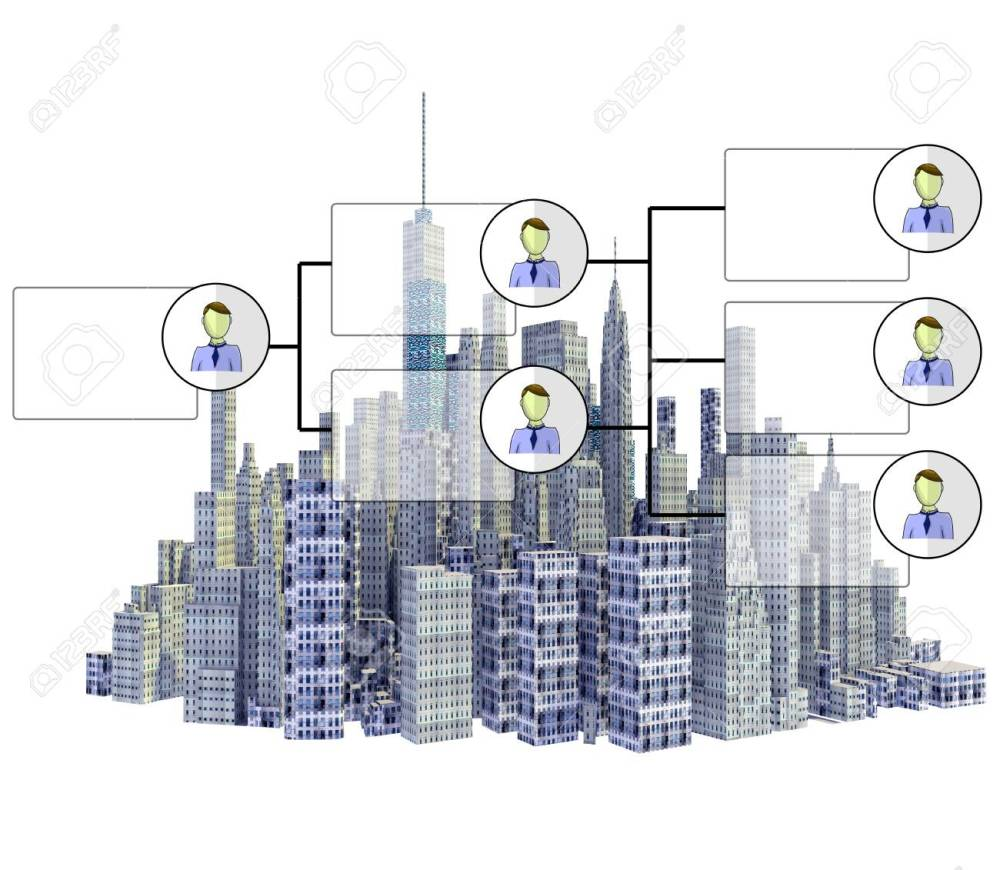medium resolution of rendered 3d city skyline with organigram isolated on white background stock photo 76972042