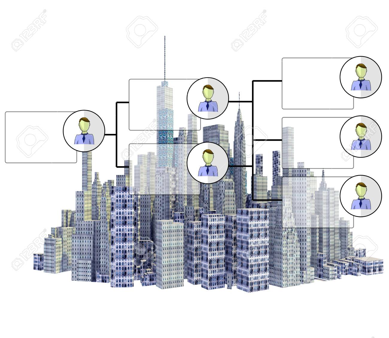 hight resolution of rendered 3d city skyline with organigram isolated on white background stock photo 76972042