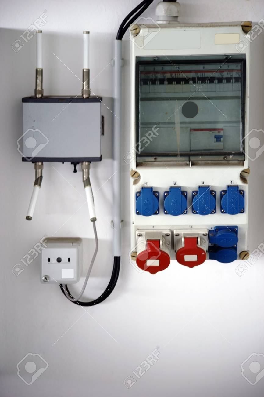 medium resolution of a fuse box and electrical distribution box with various sockets stock photo 88204327