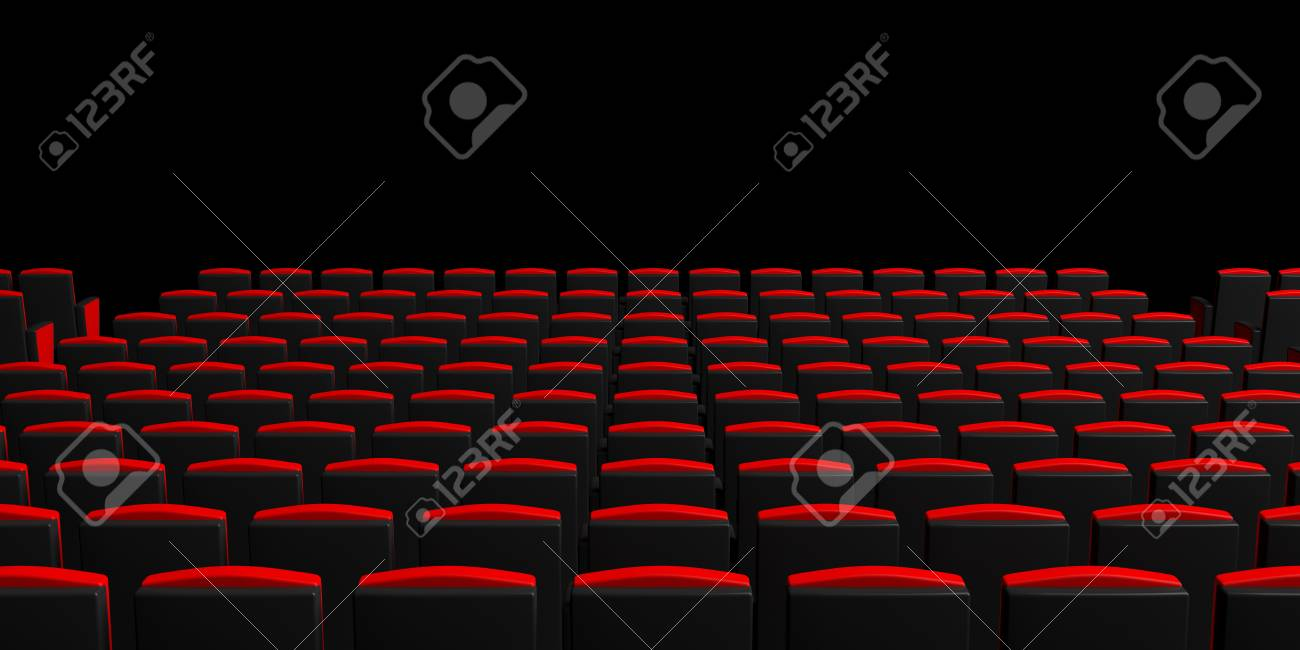 Red Theater Chairs On Dark Background View From Behind Copyspace Stock Photo Picture And Royalty Free Image Image 92468475