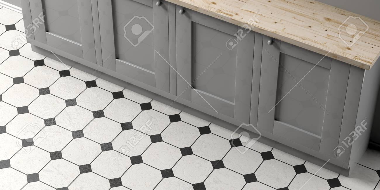 kitchen cabinet on white and black ceramic tiles floor background