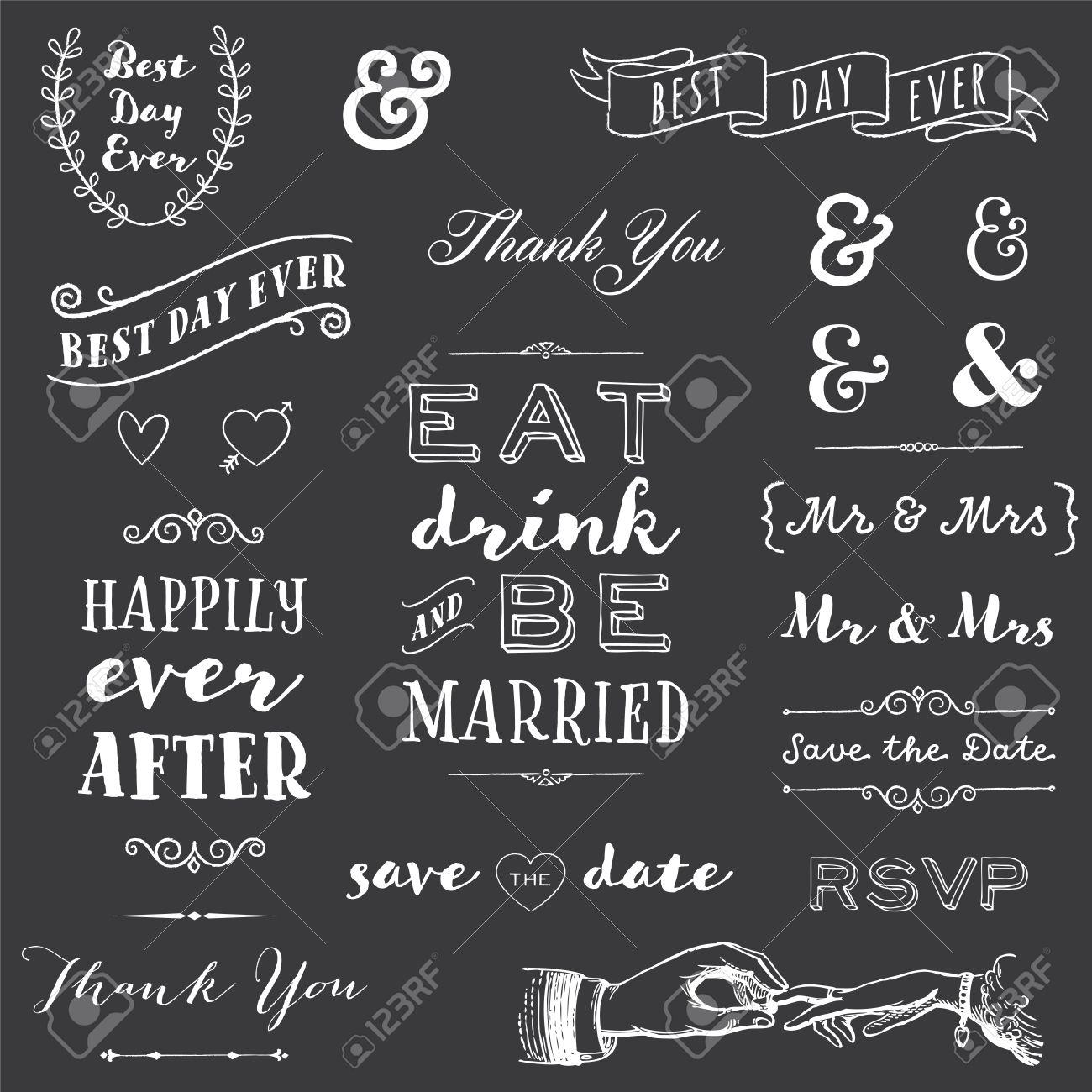 chalkboard wedding typography collection