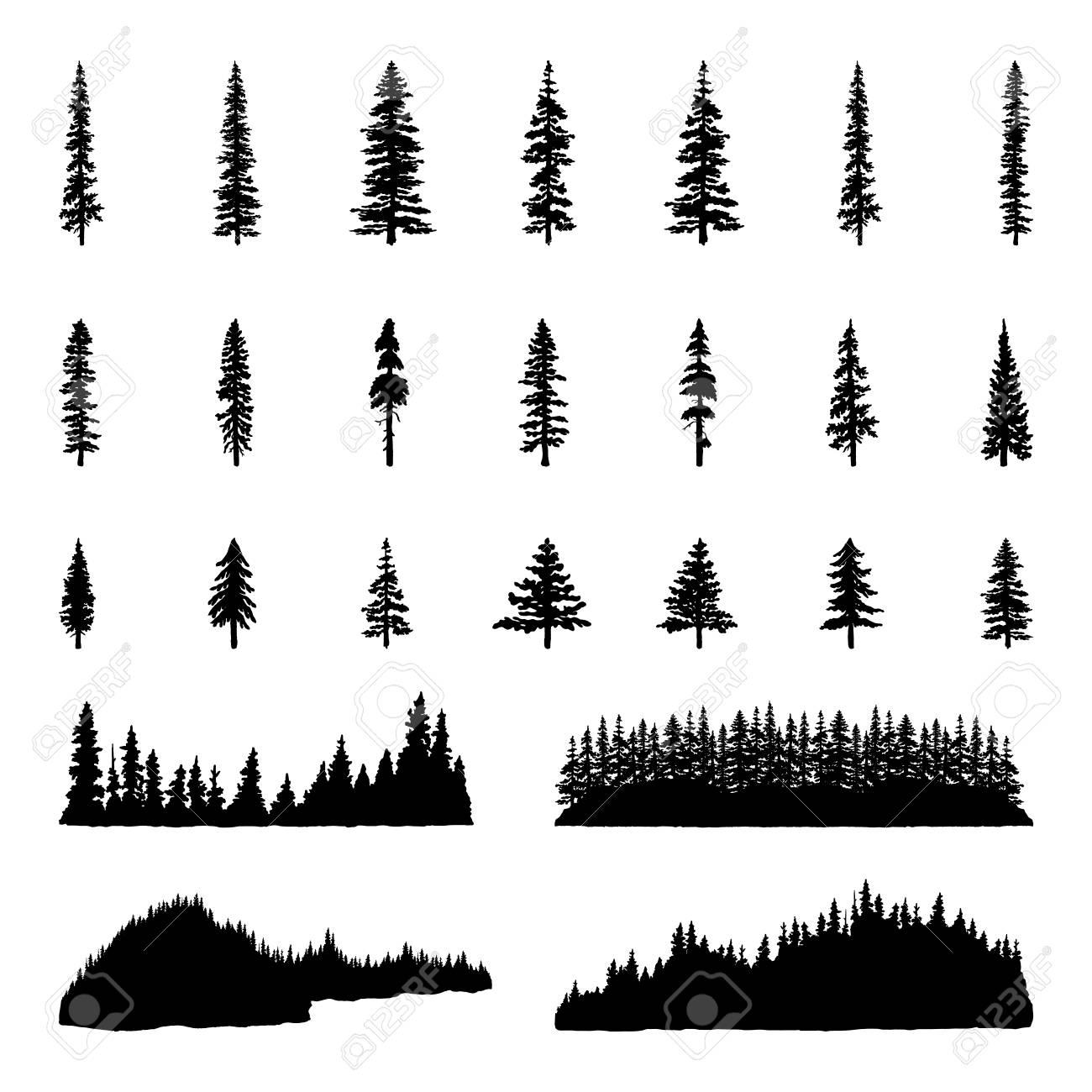 tree silhouettes hand drawn