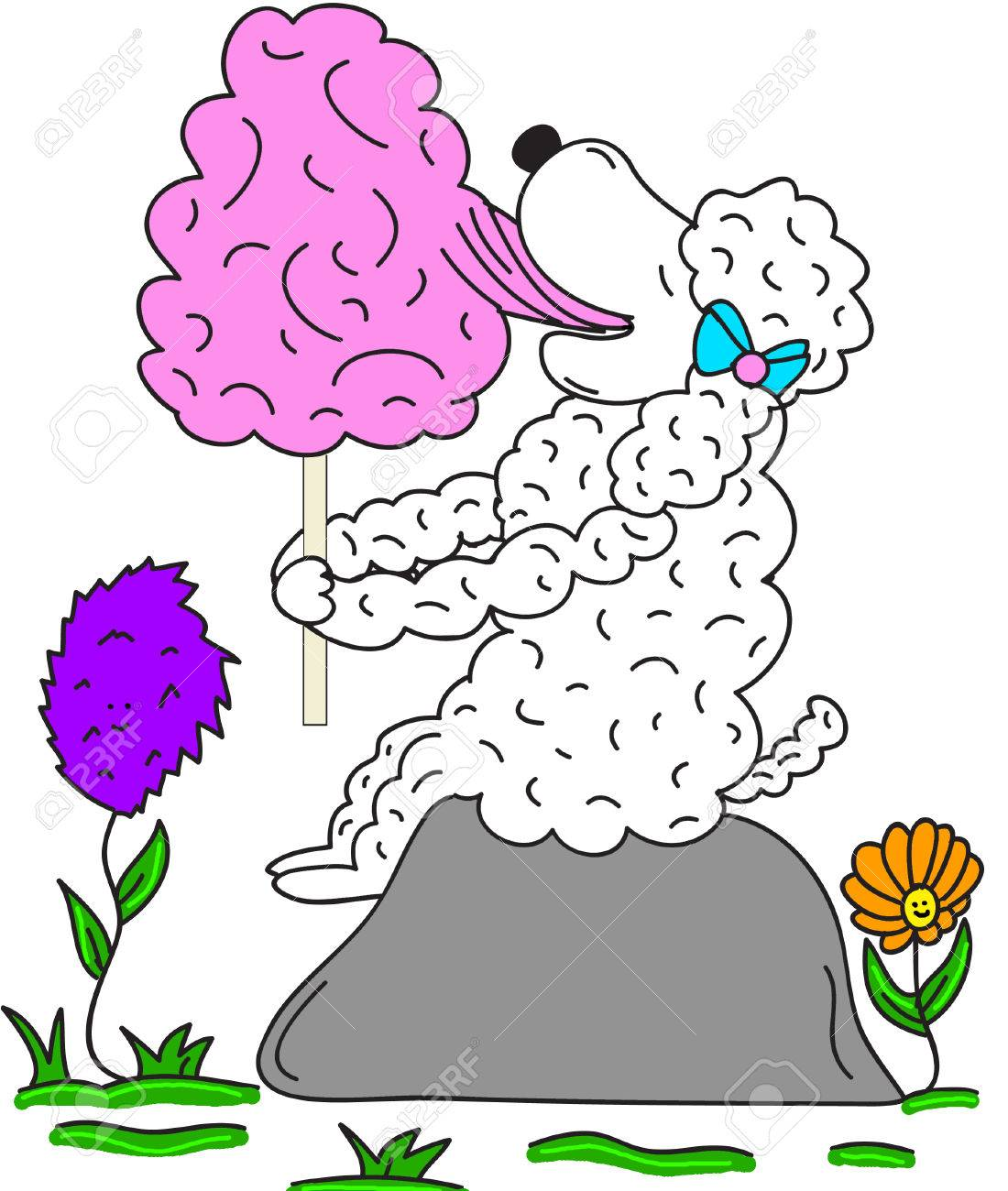 hight resolution of sheep eating cotton candy clipart cartoon illustration stock vector 39034685