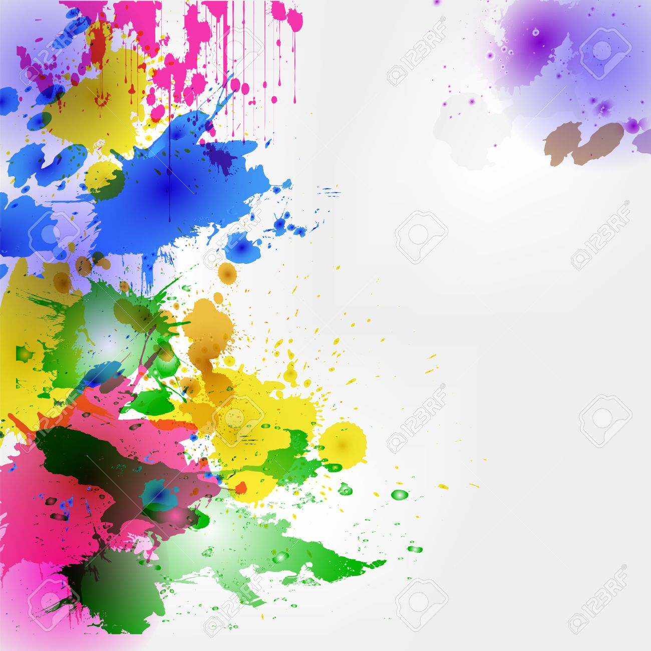 colorful watercolor stains and
