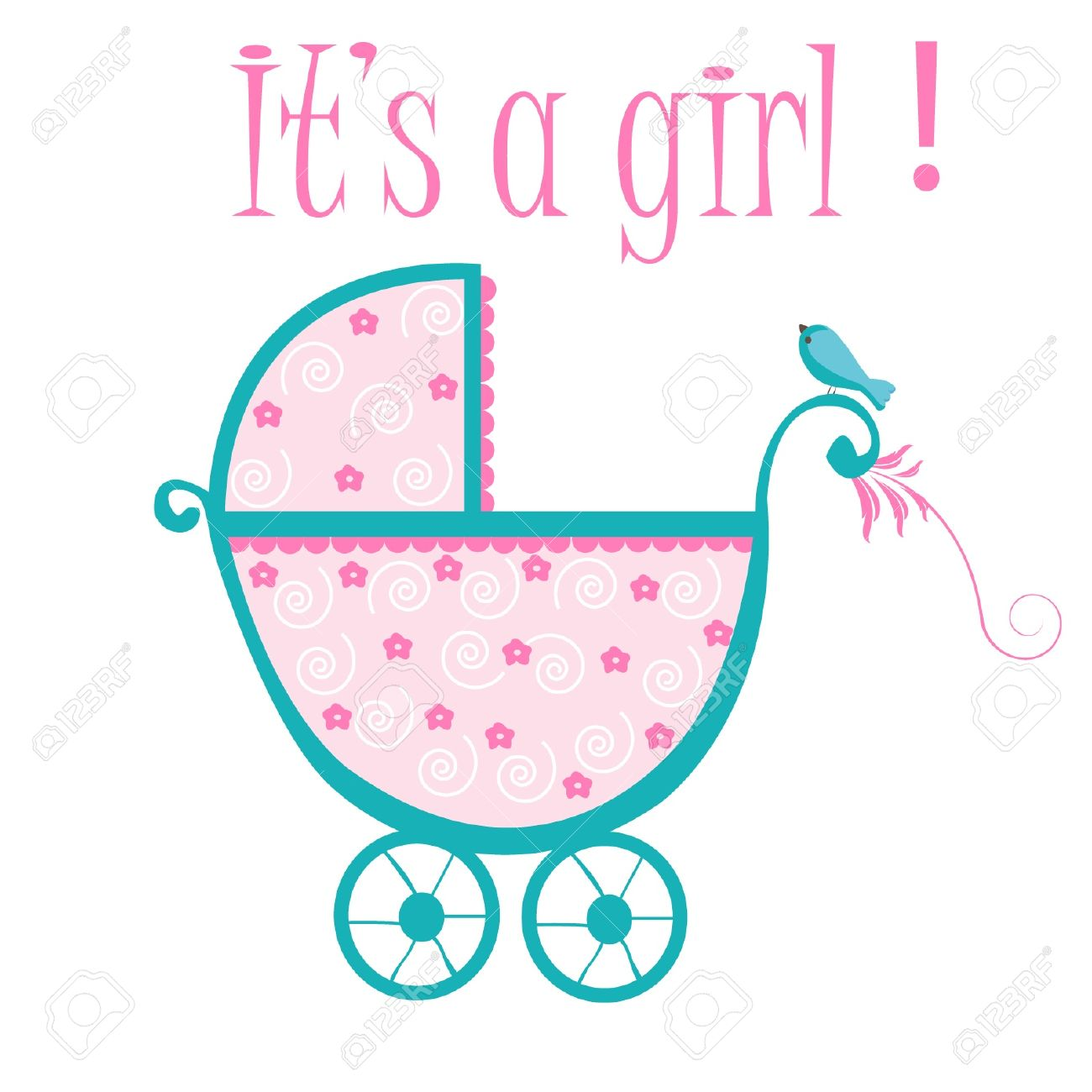 hight resolution of baby crib card to welcome to new baby girl stock vector 12379686