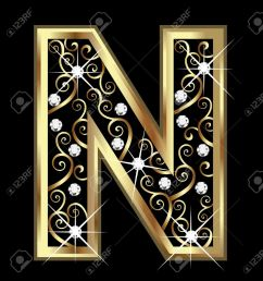 n gold letter with swirly ornaments stock vector 16320514 [ 1235 x 1300 Pixel ]