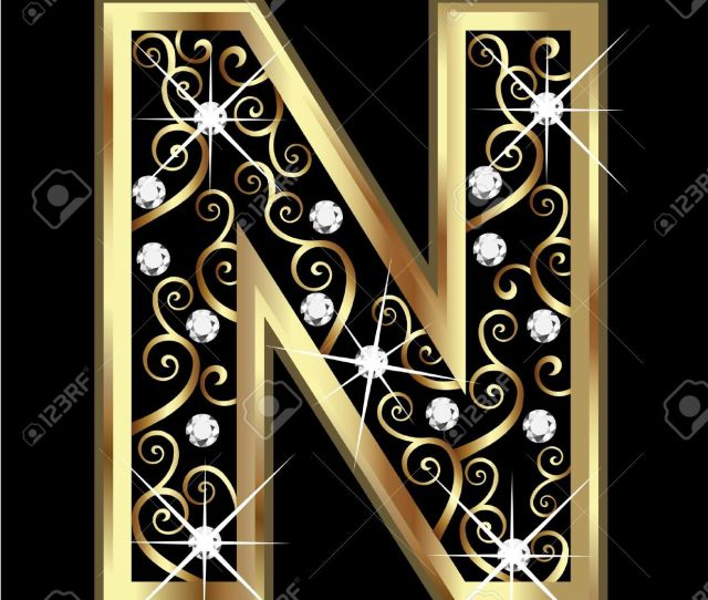 N Gold Letter With Swirly Ornaments Stock Vector 16320514