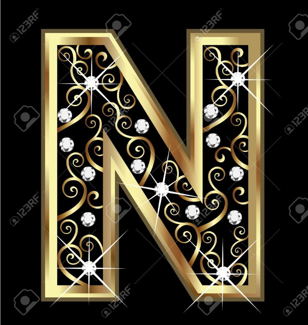 medium resolution of n gold letter with swirly ornaments stock vector 16320514