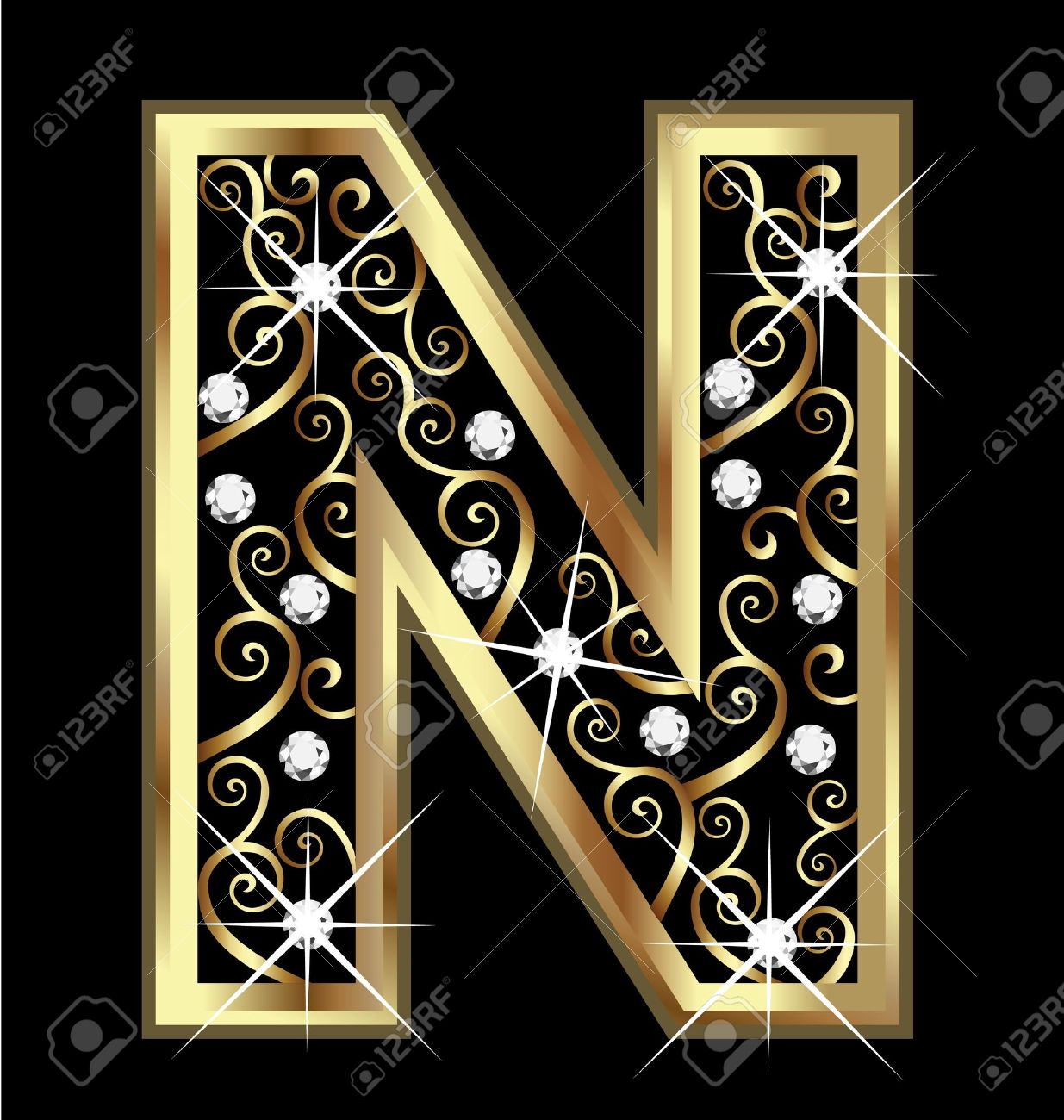 hight resolution of n gold letter with swirly ornaments stock vector 16320514